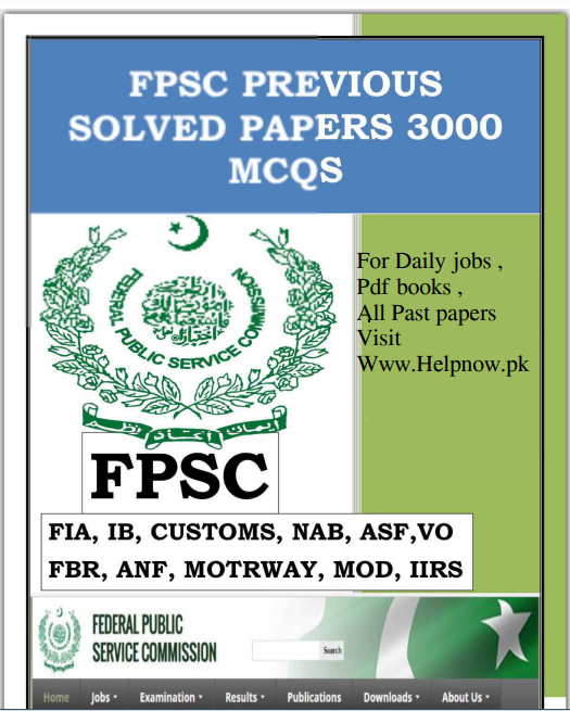 Download FPSC Previous Solved Papers 3000 Mcqs in pdf Download