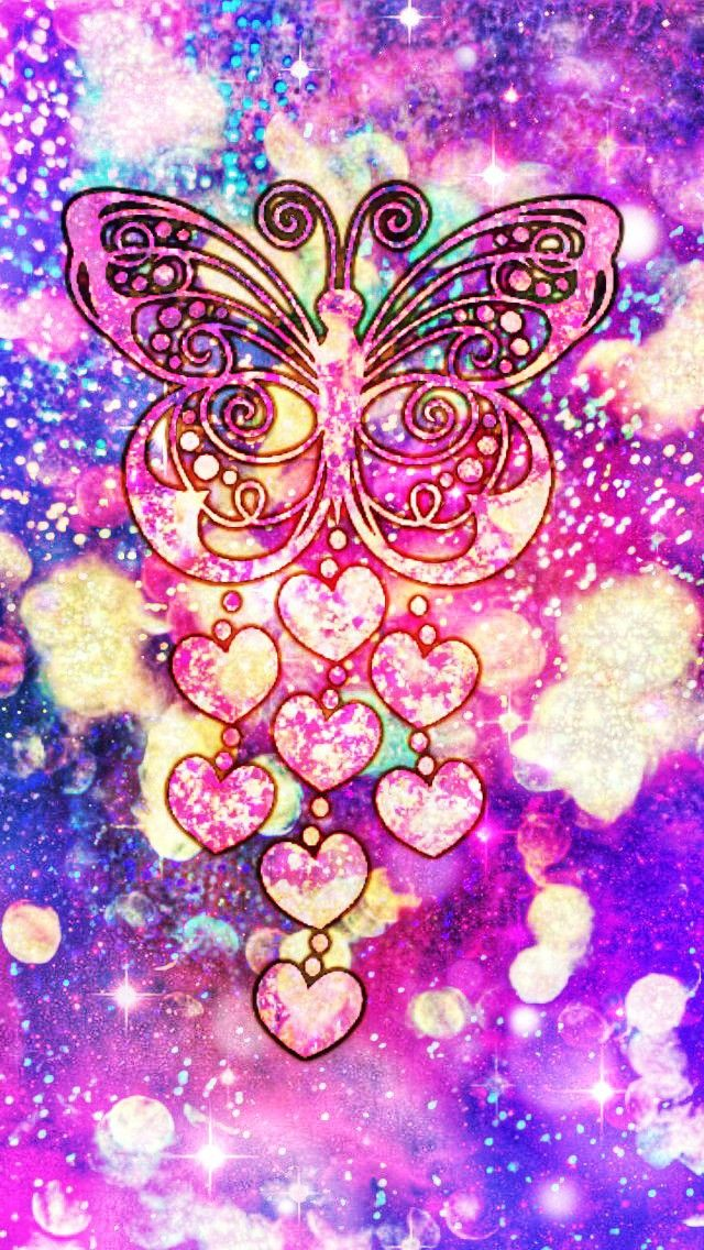 Glittery Butterfly Charm Made By Me Purple Sparkly Wallpapers Backgrounds