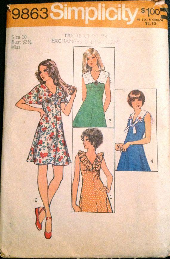 Simplicity 9863 1970s Misses V Neck Mini DRESS Pattern Cape ...