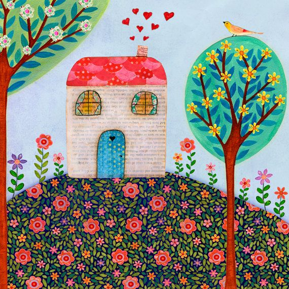 Art And Home Decor Part - 38: Folk Art, Little House Painting, Baby Nursery Decor, Nursery Art Print On  Wood, Home Decor Title - Little House On The Hill Little House On The