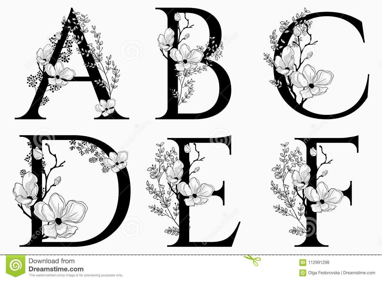 Vector Hand Drawn Floral Uppercase Letters Monograms Stock