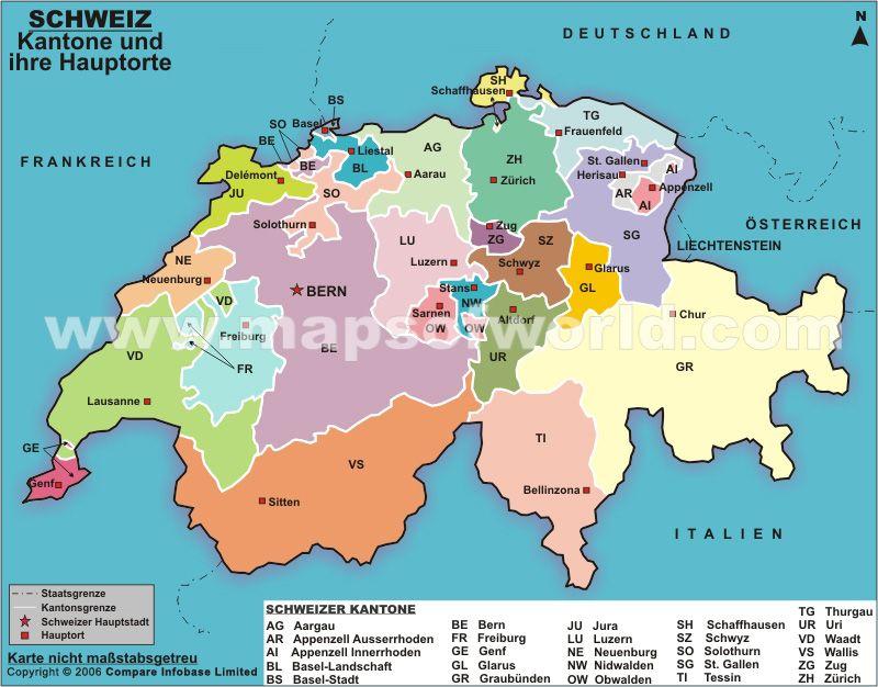 Karte Der Schweizer Kantone Und Ihrer Hauptorte Landkarte