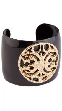 CC Medallion Enamel Cuff - Black/Gold