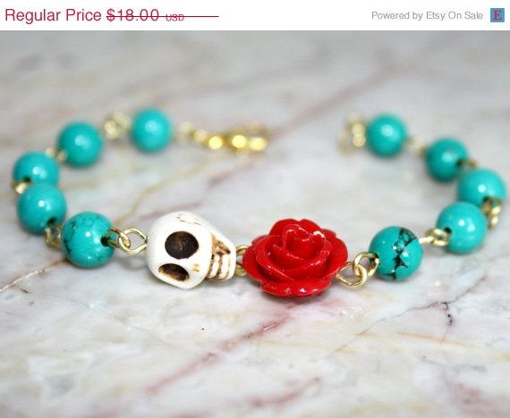 SALE Original Day of the Dead Green Turquoise Red Rose Frida Kahlo's Flower Jewelry Atlanta White Sugar Skull Bracelet