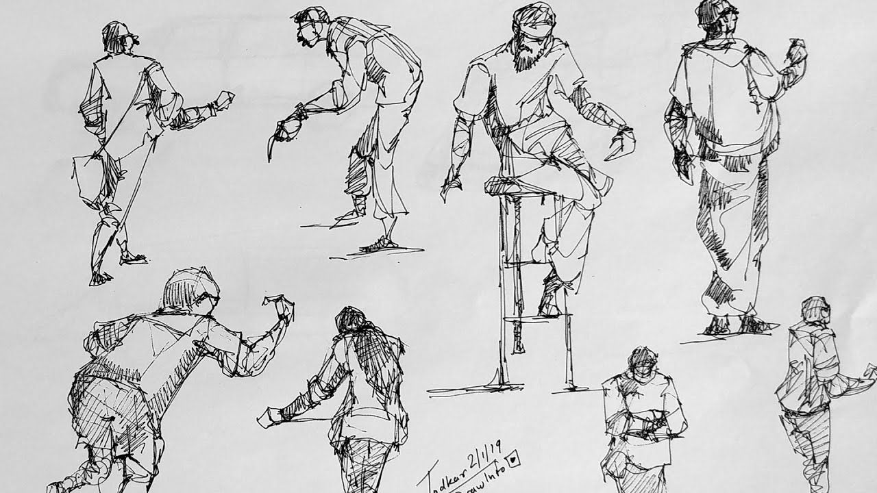 Force drawing method for human figures live sketching