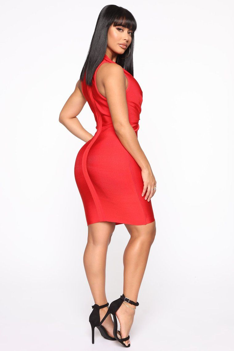 Keeping Things Private Bandage Midi Dress Red Red midi