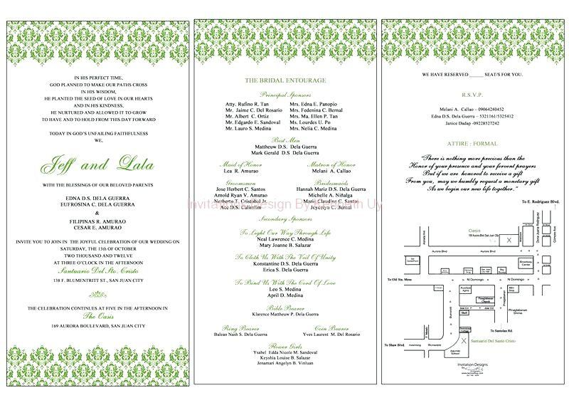 Filipino Wedding Invitation Sample Invitations With Elegant