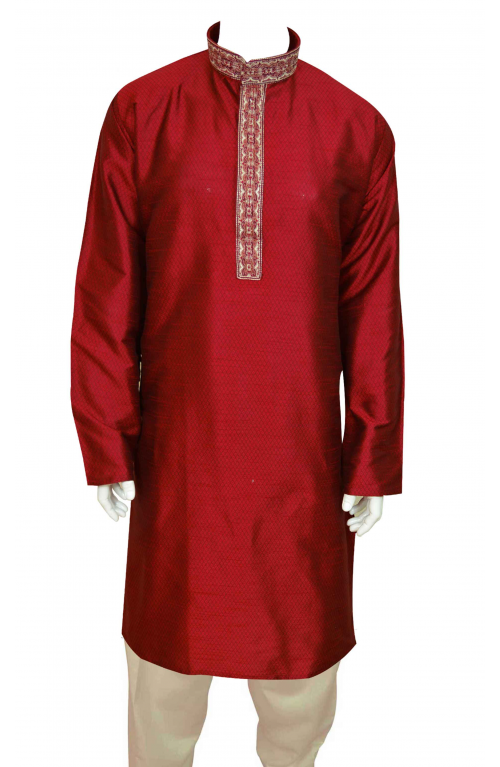 c17e550261 Mens kurta Shalwar - I J4 Maroon Self print Jacquard fabric in various  sizes with embroidery in front and alongwith cream salwar (pants).