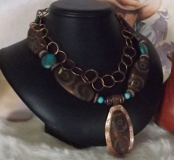 Stunning Textured Agate and Turquoise Southwest by jewelrygals