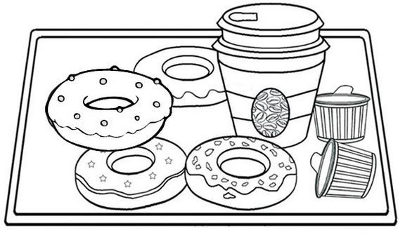 Donut And Coffee Cup On Wooden Tray Coloring Page