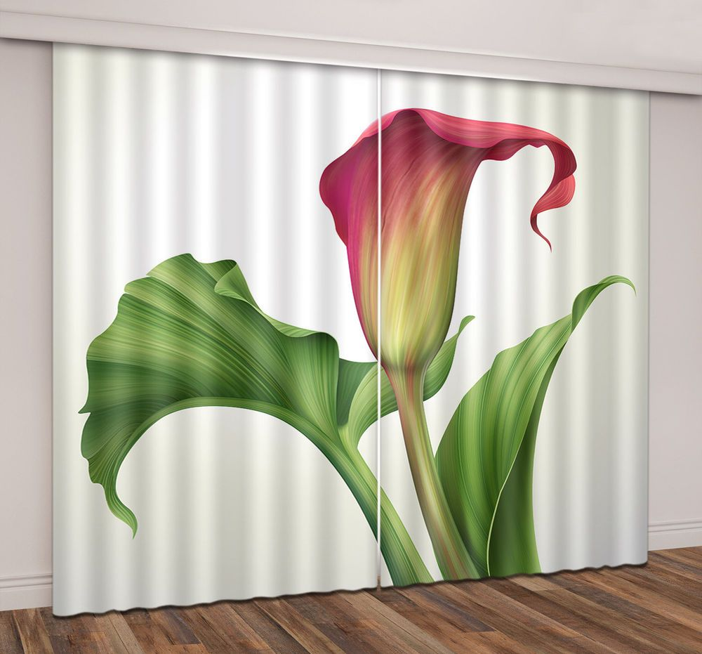 3D Print Window Curtain Blockout 2 Panels Drapes Fabric Tulip Flower Home Decor