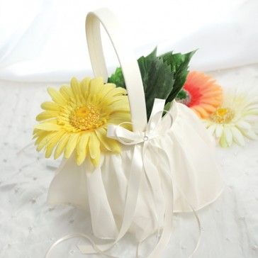 Ivory Elegant Chiffon Flower Girl Basket #Wedding #WeddingCeremony