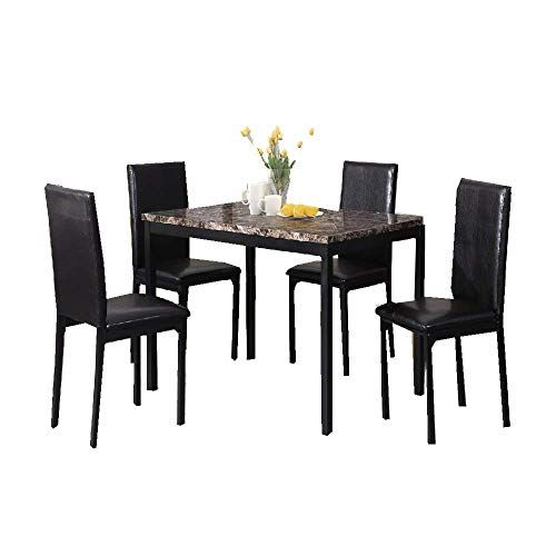 Ats 5 Pc Dining Table Set Modern Dinner Wood Chair Indoor Chairs