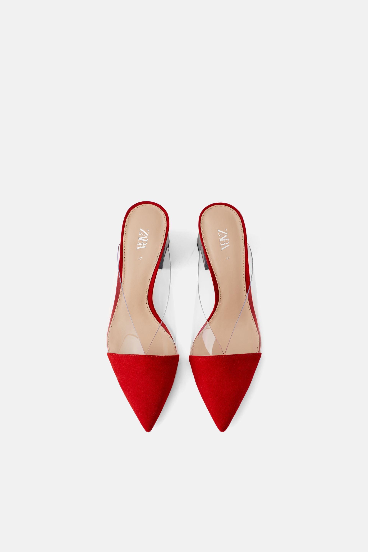 High heeled vinyl mule mules shoes heels zara spring