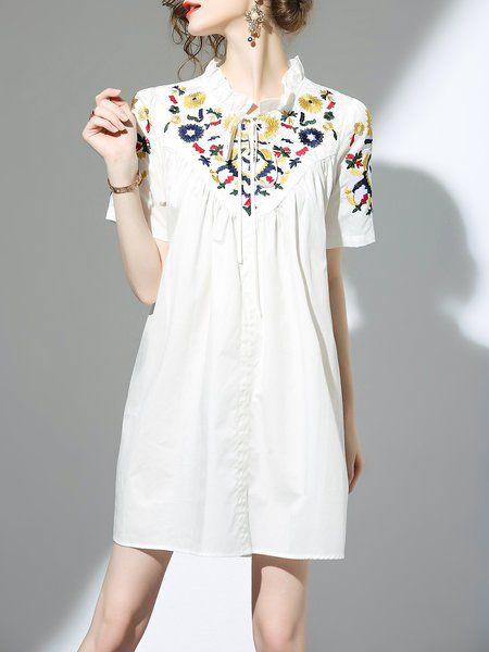 d47ee56b26 Shop Midi Dresses - White Stand Collar Short Sleeve Midi Dress online.  Discover unique designers fashion at StyleWe.com.