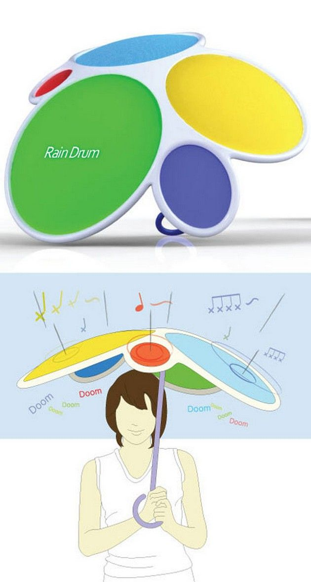 Rain Drum - Rain drum is an innovative umbrella that features various kinds of sound, making the most interesting amusement for user during rainy days. The Rain Drum umbrella is an idea of the designer Dong Min Park.