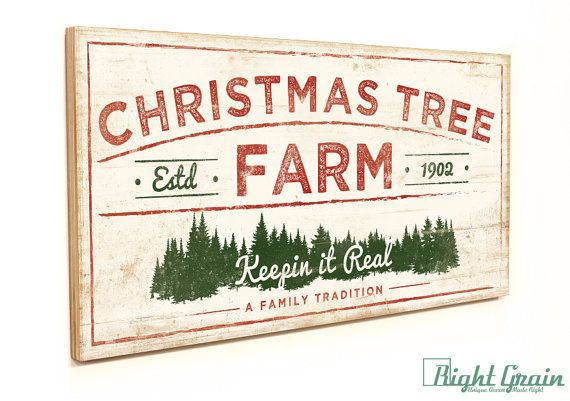44 Christmas Tree Farm Sign Wood Holiday Sign Rustic By Rightgrain