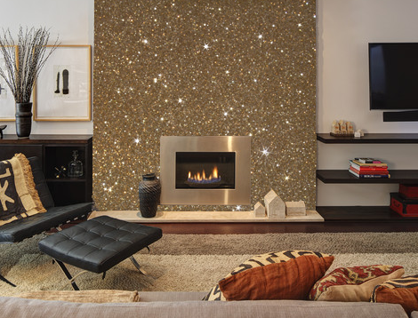 This is what gold glitter wallcovering would look like on for Silver wallpaper living room