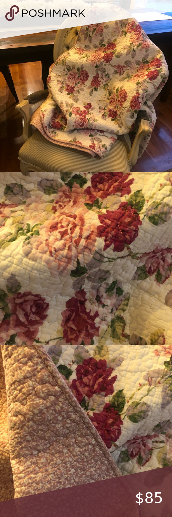 Photo of LAURA Ashley quilt~ KING Laura Ashley king size quilt. Beautiful floral pattern …
