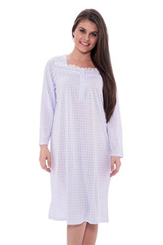 Lace Trim Victorian Nightgown Long Sleeve Sleepwear Nightie Standard Plus  Sizes     Continue to the product at the image link. c66db9865