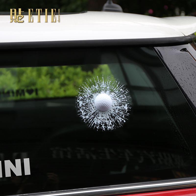 Zltfashion prank tricky creative glass window stickers funny auto car styling ball hits car body window sticker self adhesive decal accessories white golf