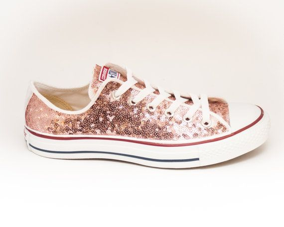 Tiny Sequin - Starlight Rose Gold Canvas Low Top Sneakers Tennis Shoes.  Sparkly ConverseGirls White ...