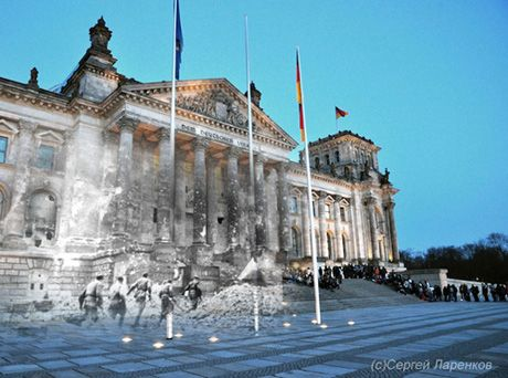 It's been nearly 70 years since World War II came to an end and the formerly war torn cities and towns of Europe are now bustling metropolises. Artist Sergey Larenkov manages to create an eery composition of photos that bring both past and present together in these 25 World War II images photoshopped into modern scenes.