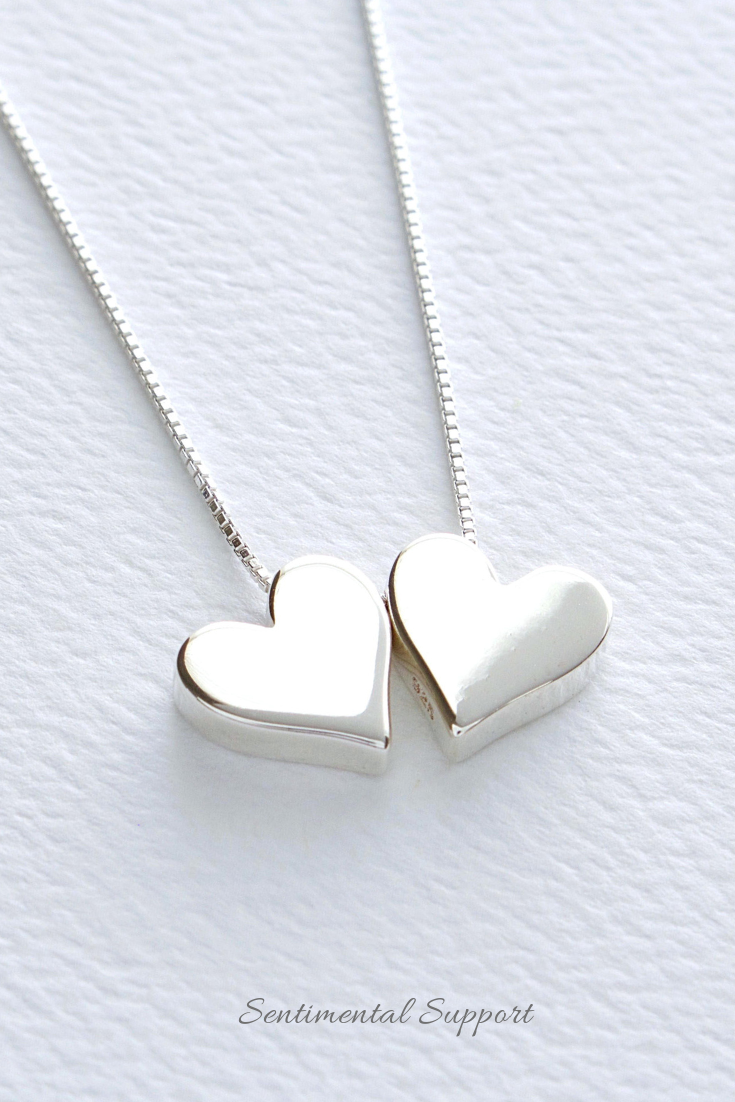 53ea49fd7 Double Hearts Sterling Silver Necklace, Two Hearts Valentine's Jewelry,  FREE SHIPPING, Simple Floating Heart Charms, Minimal Heart Jewelry