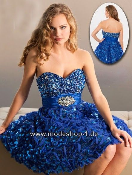 Glitzer Cocktailkleid Kurz in Blau | Blaue Kleider online kaufen ...