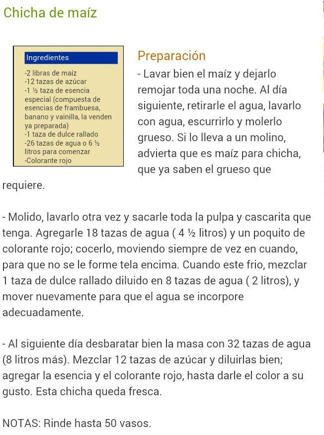 Chicha.   RECETAS de Comida Nicaragüense.   Pinterest   Comida ...
