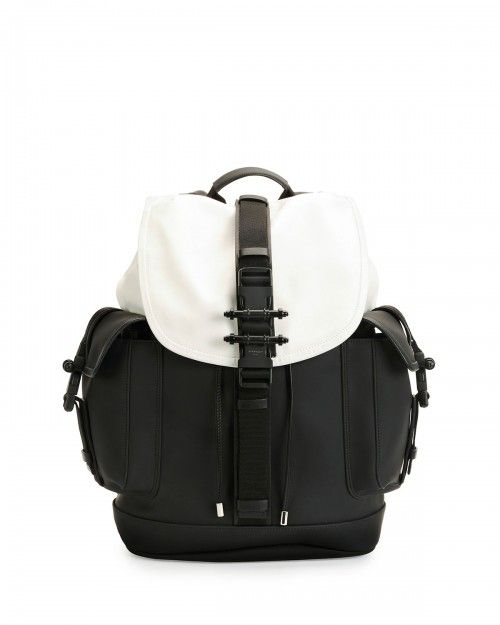 1d3975992b Givenchy Obsedia Leather Flap Backpack Black White