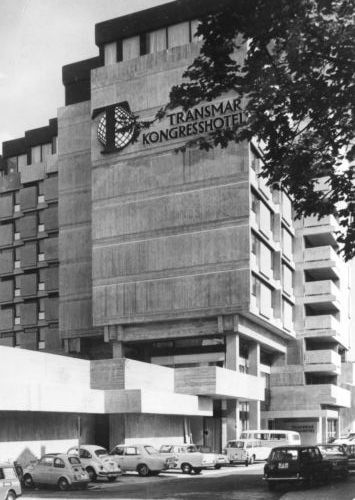 germanpostwarmodern:  Hotel Transmar (1968-70) in Erlangen, Germany, by Harald Loebermann