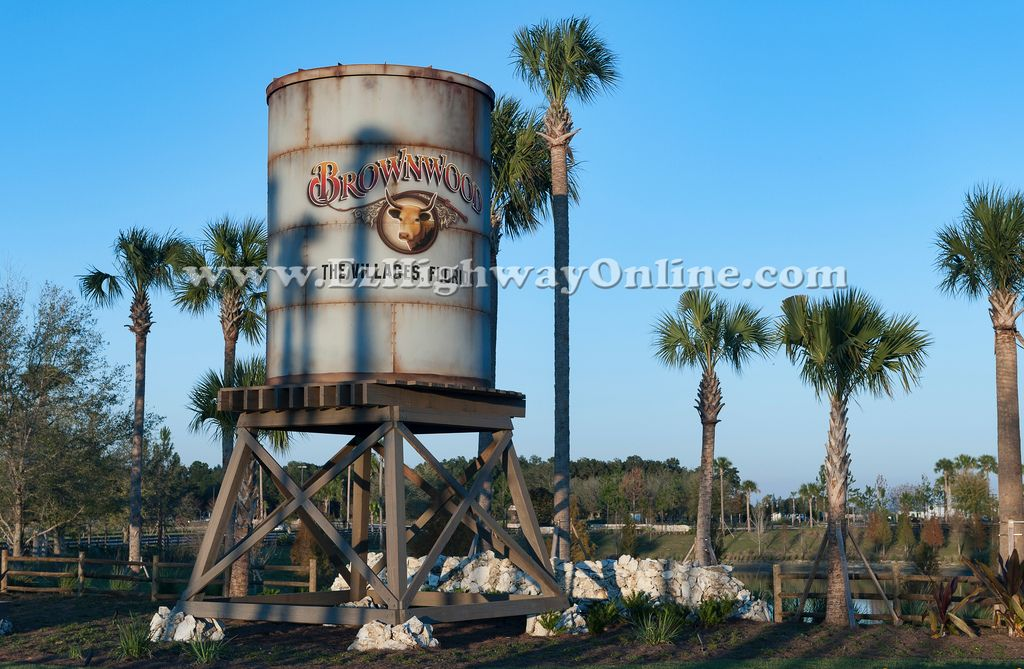 THE VILLAGES, water tower at Brownwood