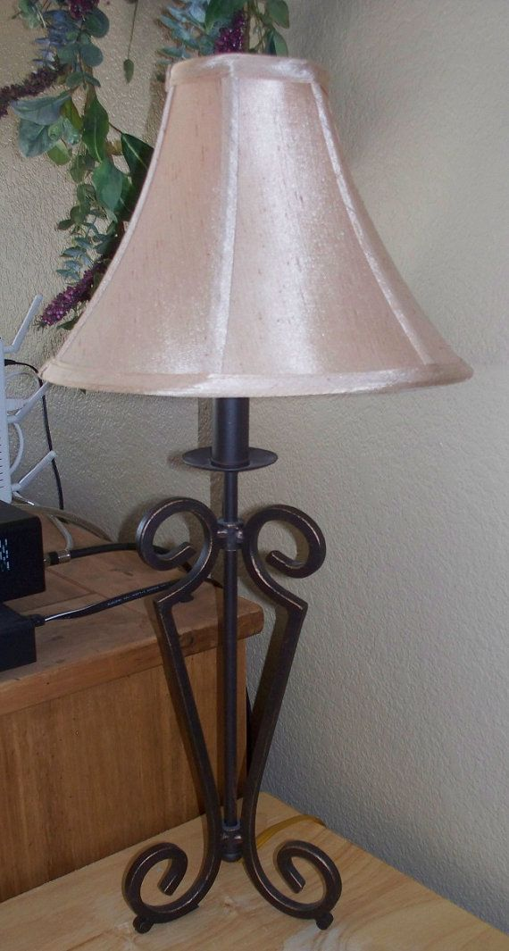 Vintage Wrought Iron Lamp With Cream Shade Harmon