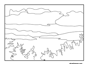 Lake Champlain Landscape Adult Coloring Page Printable
