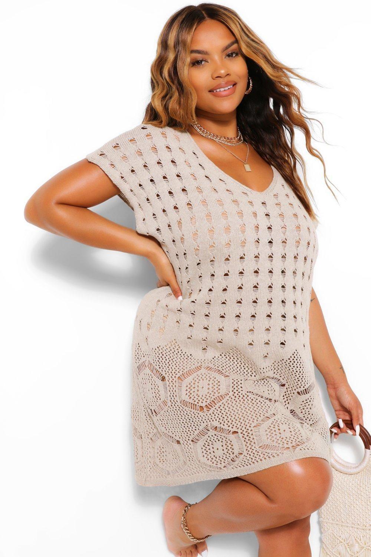 Womens Plus Sleeveless Crochet Beach Dress - beige - 16 - boohoo Plus You'll find full