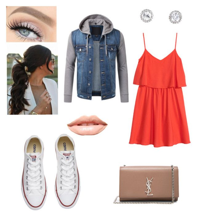 """Back to school😕🚐"" by larissa-bens on Polyvore featuring mode, H&M, Converse, Yves Saint Laurent en MDMflow"