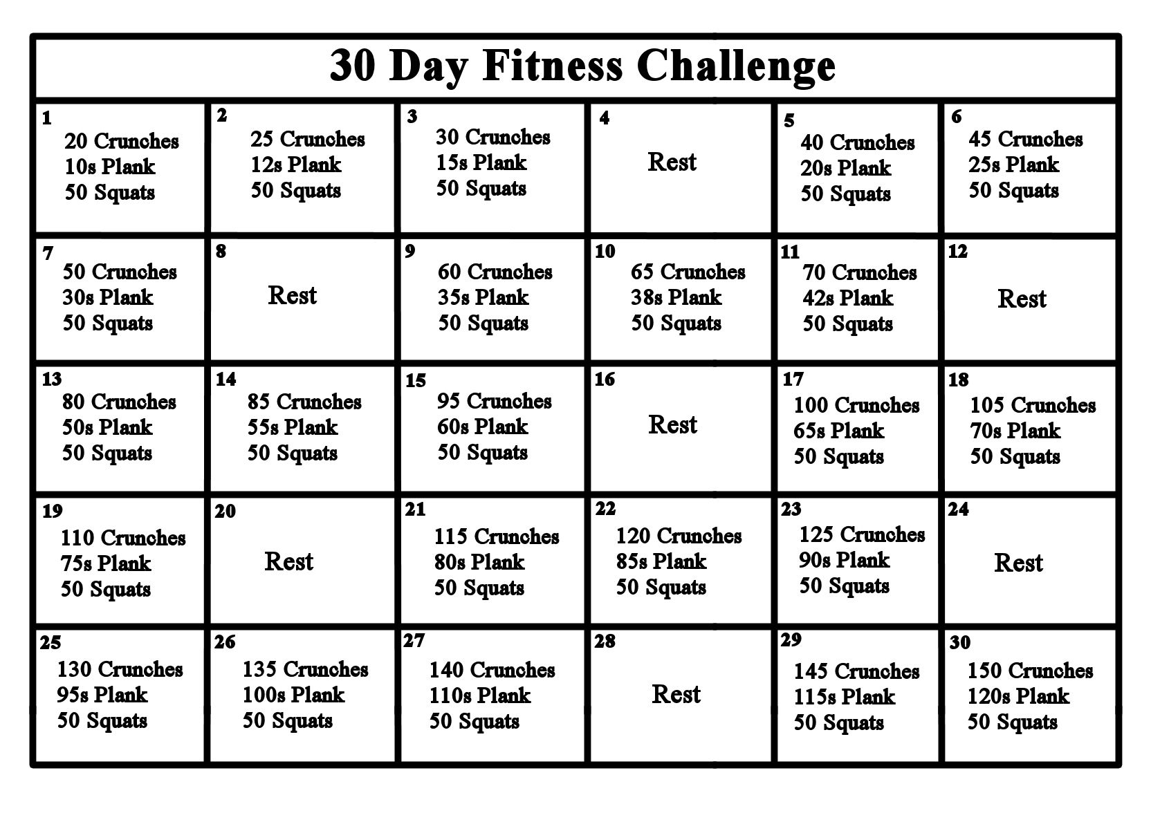 30 Day Fitness Challenge Abs Crunches Squats Planks 30 Day Workout Challenge 30 Day Fitness Workout Challenge