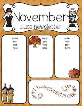 c5685519f02fc7f21cf65cc284a47525 November Teacher Newsletter Template on owl theme, for first grade, free preschool,