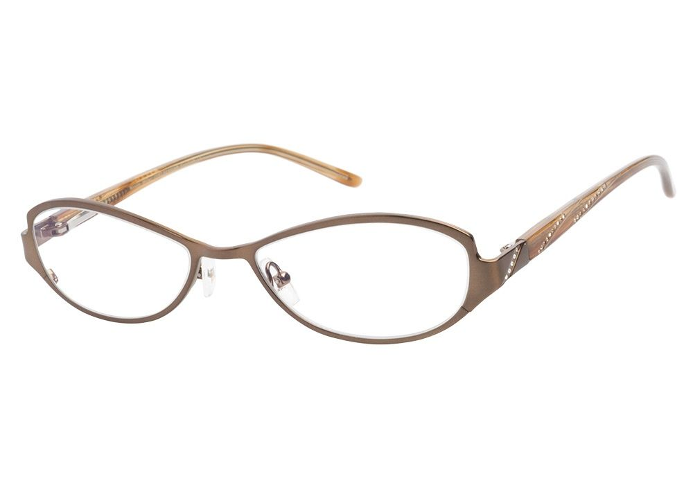 07672f9ed29 These Nicole Miller Condesa Brushed Brown eyeglasses uniquely  sophisticated. This metallic brown frame has slightly cateye oval shaped  lens.