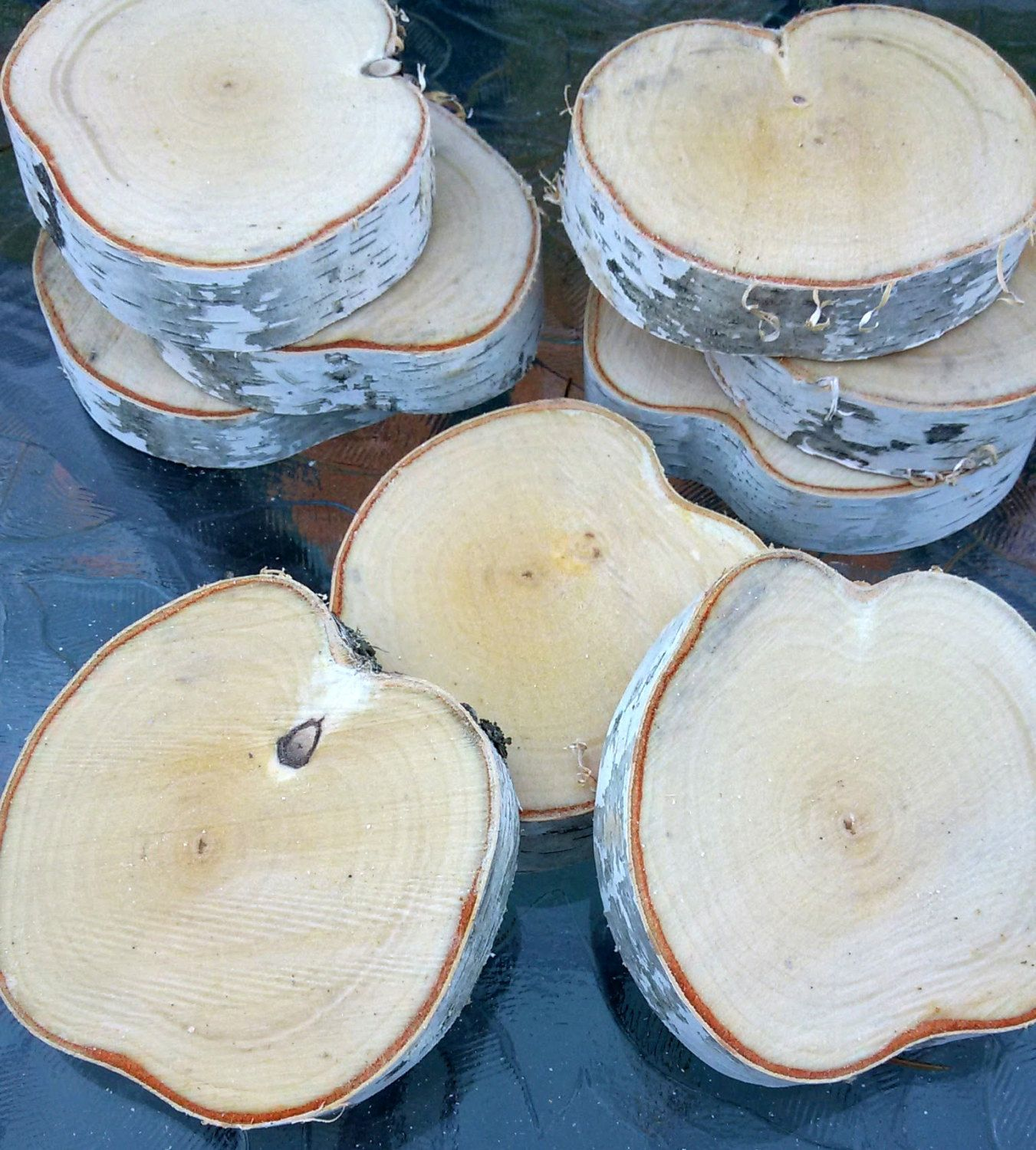 White Birch Slices 3 3 5 Diameter By 75 1 Thick Paper Birch Wood Cookies Rustic Party Wedding Deco Rustic Party Rustic Fireplace Mantle Wood Cookies