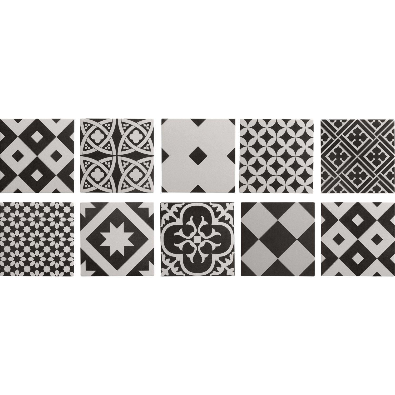 Carrelage Intérieur Gatsby ARTENS En Grès, Noir Et Blanc, 20 X 20 Cm |