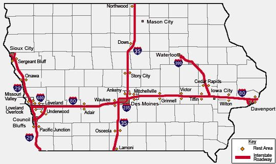 Iowa interstate rest areas features and services Travel