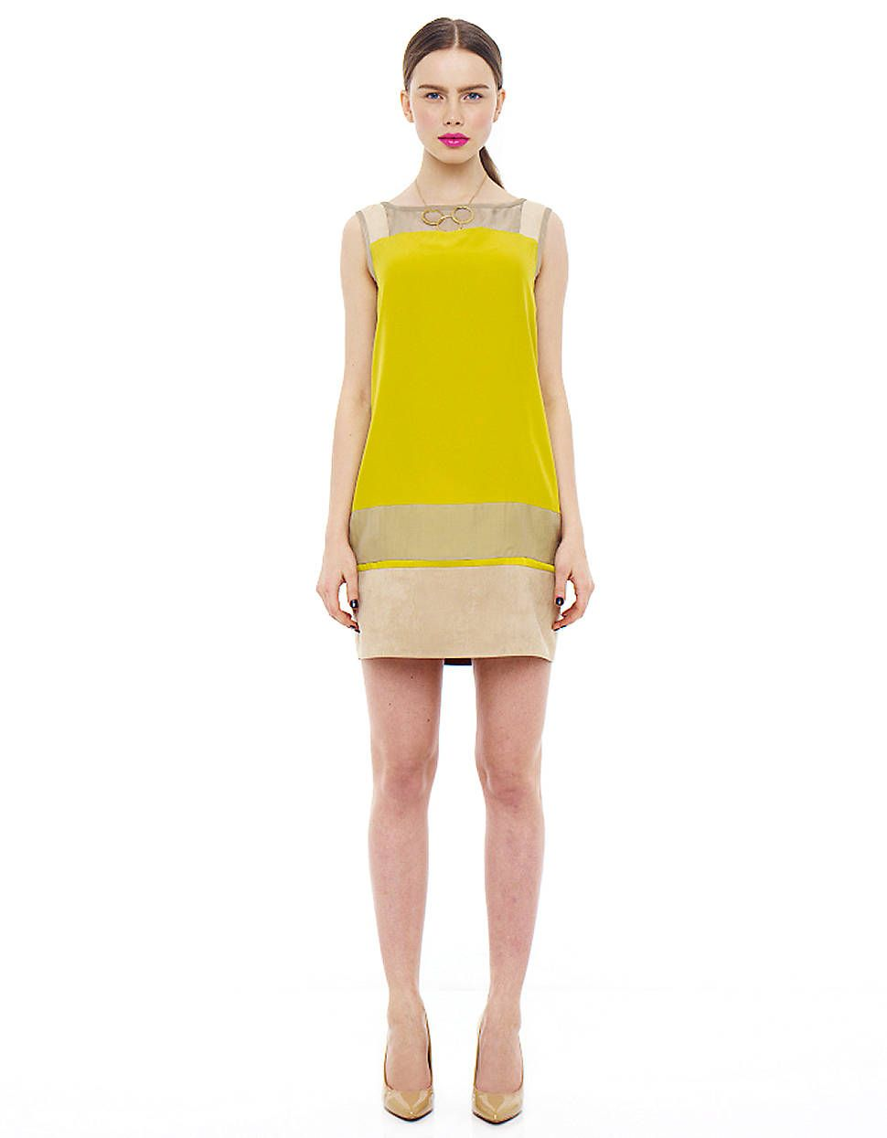 fddb358988c7b6 Michelle s Project Runway dress - Lord   Taylor challenge JS COLLECTIONS  Chartreuse Shift Dress
