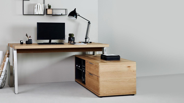 Eck-Schreibtisch SOLID DESK 165 E Bürotisch in Wildeiche von JAHNKE ...