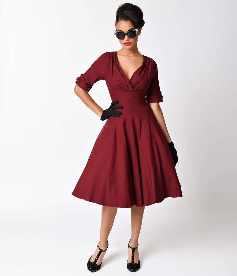 Unique Vintage 1950s Burgundy Red Delores Swing Dress With Sleeves In 2020 Vintage 1950s Dresses Swing Dress Swing Dress With Sleeves