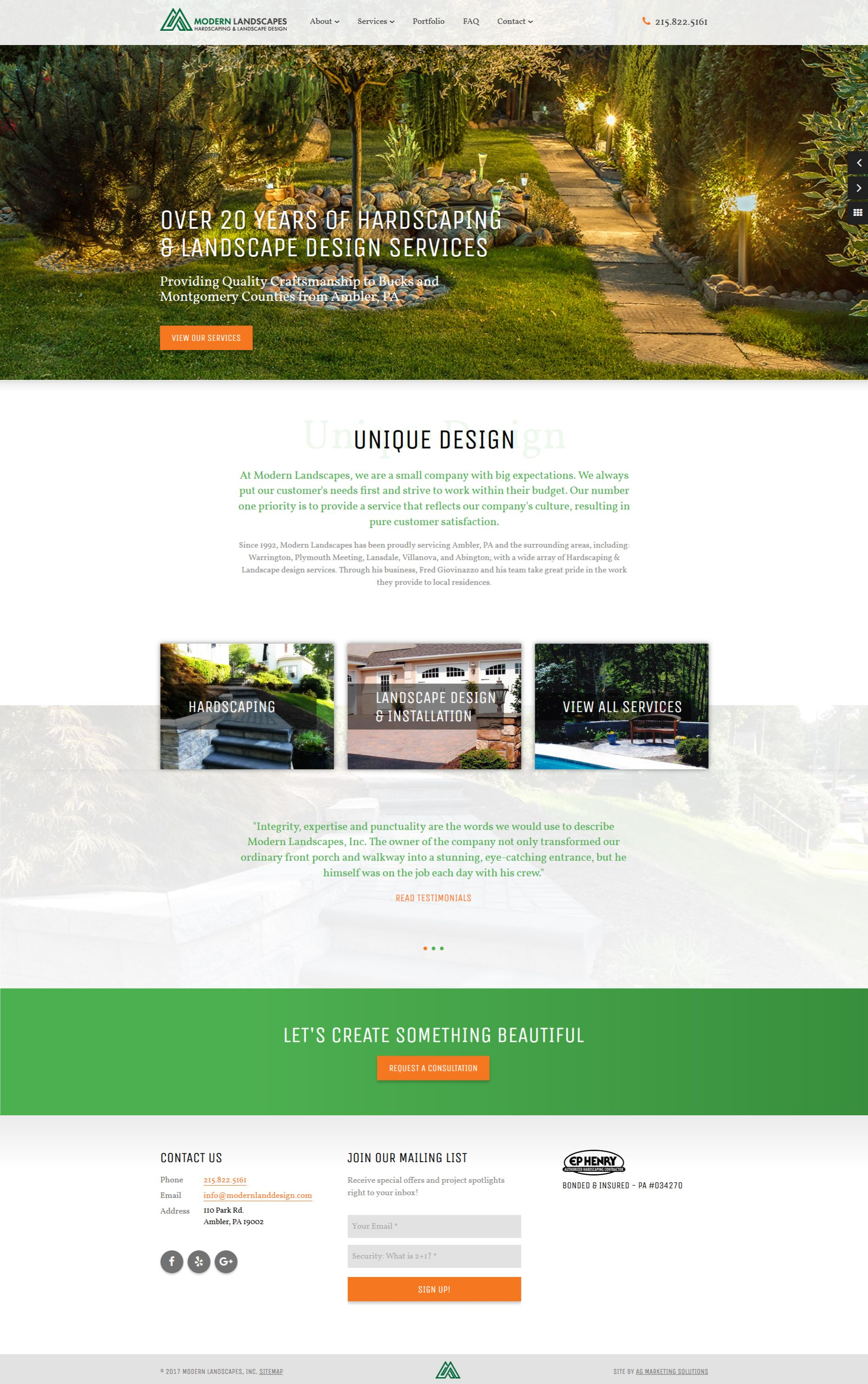 Pin By Ag Marketing Solutions On Website Designs Modern Landscaping Hardscape Service Design