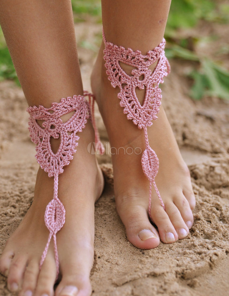 Beach Wedding Footwear Bohemian Cute Pink Crochet Womens Barefoot ...