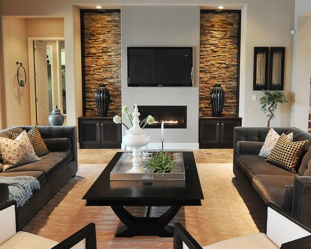 Modern Living Room With Opposite Stone Work To Fireplace And Wall