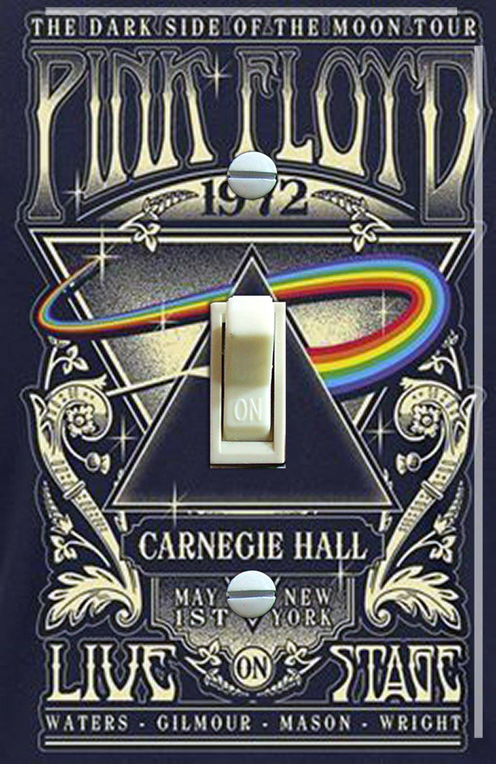 Pink Floyd 1972 Carnegie Hall Vintage Concert Poster, Switch Plate Cover, Wall Plate, Single, Home Decor